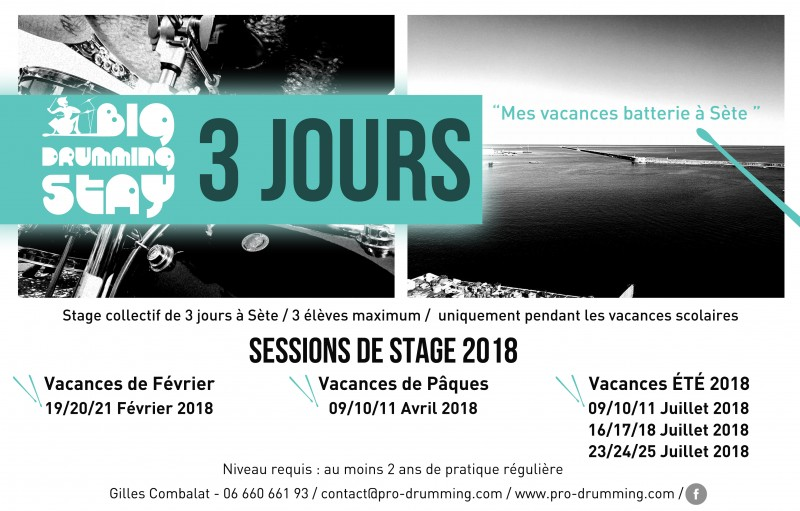 Stage collectif de Batterie à Sète - sur 3 jours - Sessions pendant les vacances scolaires