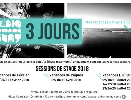 Big Drumming Stay 2018 – Sessions de 3 jours de stage de Batterie à Sète